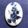 Porcelain Cameo, blue and white, 07255, floral cameo, cameo, blue flowers, blue floral, roses, flowers, Bsue Boutiques, vintage jewelry supplies, vintage cameo, jewelry making, blue roses, 40 x 30