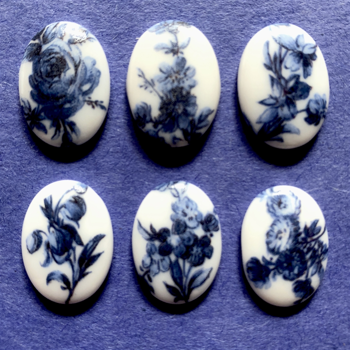 Porcelain Cameos Blue And White 07256 Floral Cameos Cameo Blue