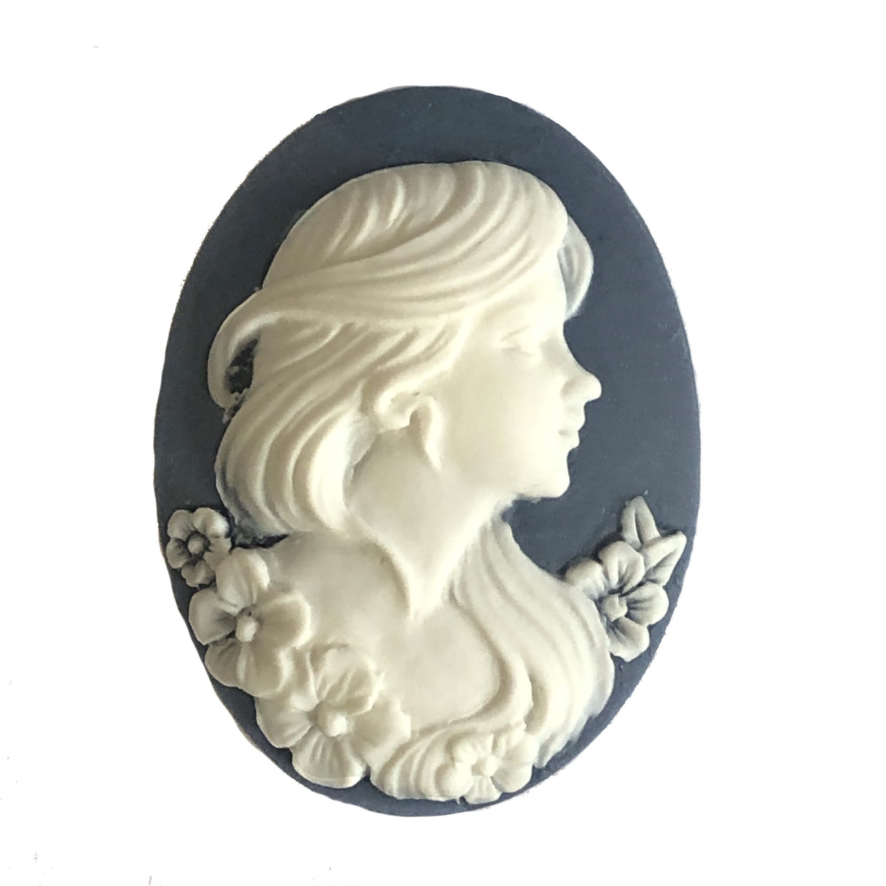 Cameo, Lady, Floral Accents, White, Navy, 40 x 30mm