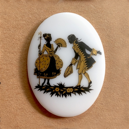 vintage couple cameo, German decal cameos, porcelain Colonial cameo, 40x30mm, decal, German decal, couple cameos, flat back, B'sue Boutiques, vintage supplies, jewelry supplies, jewelry findings, vintage cameo, jewelry making, 07259, tipping his hat