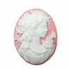 Victorian Cameo, Lady Cameo, 40x30, white/pink, 07260, cameo jewelry, jewelry making supplies, vintage jewelry supplies, bsueboutiques, imported resin, Victorian jewelry