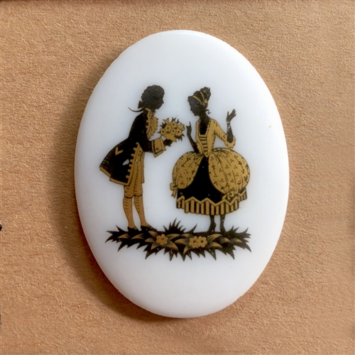 vintage couple cameo, German decal cameos, porcelain Colonial cameo, 40x30mm, decal, German decal, couple cameos, flat back, B'sue Boutiques, vintage supplies, jewelry supplies, jewelry findings, vintage cameo, jewelry making, 07267, flowers for her