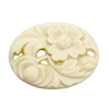 floral cabochons,ivory cameos,resin,07268, carved flowers, carved resin, jewelry making supplies, vintage jewelry supplies, flat back cameos, Bsue Boutiques, 40 x 30mm, opaque matte ivory