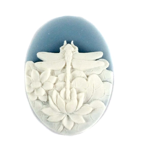 cameo, dragonfly, white/blue, 40 x 30mm,074, B'sue Boutiques, cameo, dragonfly, jewelry making supplies, vintage jewelry supplies, dragonfly jewelry, jewelry findings,