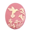 cameos, hummingbird, pink, 40 x 30mm,  cream over pink, pink cameo, hummingbird cameo, vintage jewelry supplies, 077, flat back cameos, imported resin cameos, jewelry making supplies,