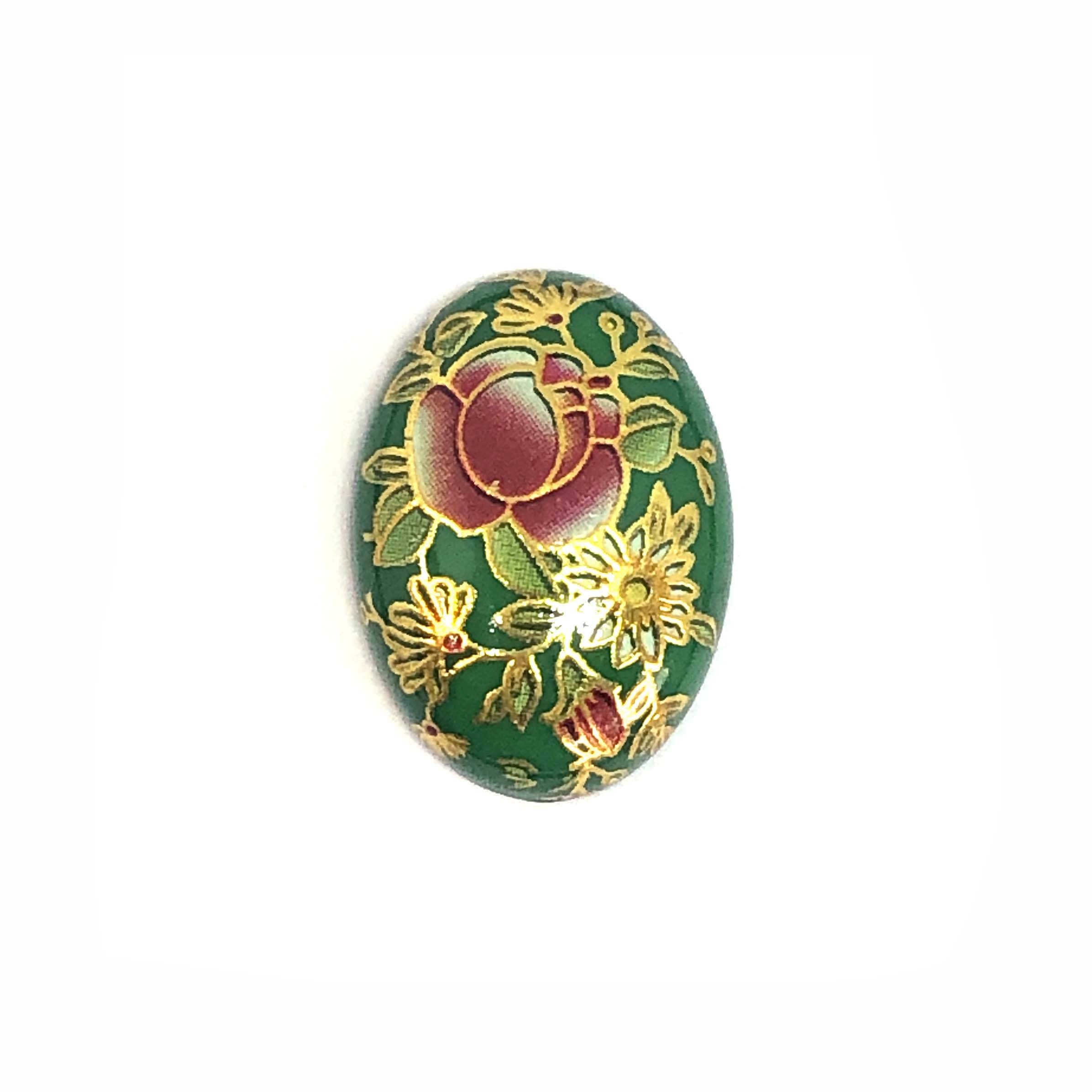 Japanese Tensha cabochon, resin, cabochons, green, cameo, 07887, B'sue Boutiques, flat back stones, vintage jewelry supplies, jewelry making, jewelry supplies, 25x18mm, cameos, rose flower pattern, floral
