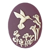 cameos, hummingbird, purple, 40 x 30mm,  cream over purple, purple cameo, hummingbird cameo, vintage jewelry supplies, 081, flat back cameos, imported resin cameos, jewelry making supplies,