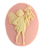 cameos, imported resin, little girl cameos, 084, B'sue Boutiques, US Made, cream over cornelian, 40 x 30mm, fairy cameos,, nymph cameos, floral cameos, bird cameos, wings, jewelry supplies, jewelry making,