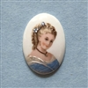 cameo, French cameo, porcelain, lady,  08759, 34 x 24mm, vintage jewelry supplies, glass cameos, multi-faceted cameos, Victorian lady cameos, jewelry making supplies, bsueboutiques