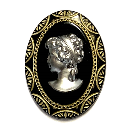 vintage lady cameo, jet gold, cameo, jet, gold, lady cameo, acrylic stone, vintage, 40x30mm, B'sue Boutiques, jewelry making, cameo jewelry, vintage supplies, jewelry supplies, acrylic cameo, gold, jet black, oval cameo, the 1928 cameo, gunmetal, 08760