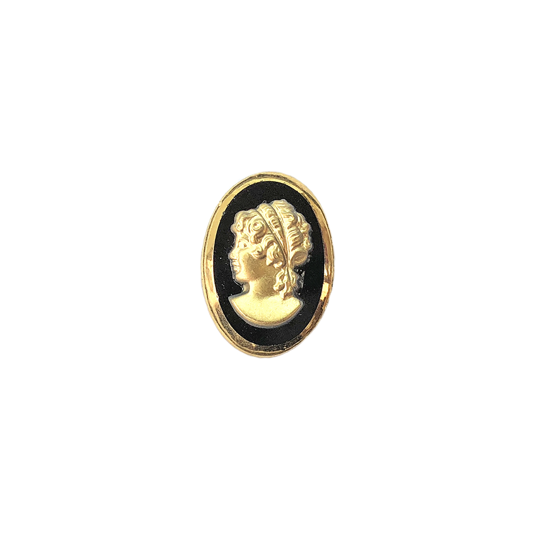 vintage glass cameo, German, jet gold, cameo, jet, gold, lady cameo, glass stone, vintage, 18x13mm, German made, B'sue Boutiques, jewelry making, cameo jewelry, vintage supplies, jewelry supplies, glass cameo, gold, jet black, oval cameo, 08796