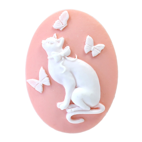 cat with butterfly cameo, pink cameo, white on pink, cat cameo, cat, kitty, butterfly, cat with butterfly, imported resin, cameo, cat jewelry, 40x30mm, animal, pink, jewelry making, jewelry supplies, jewelry findings, B'sue Boutiques, 08809