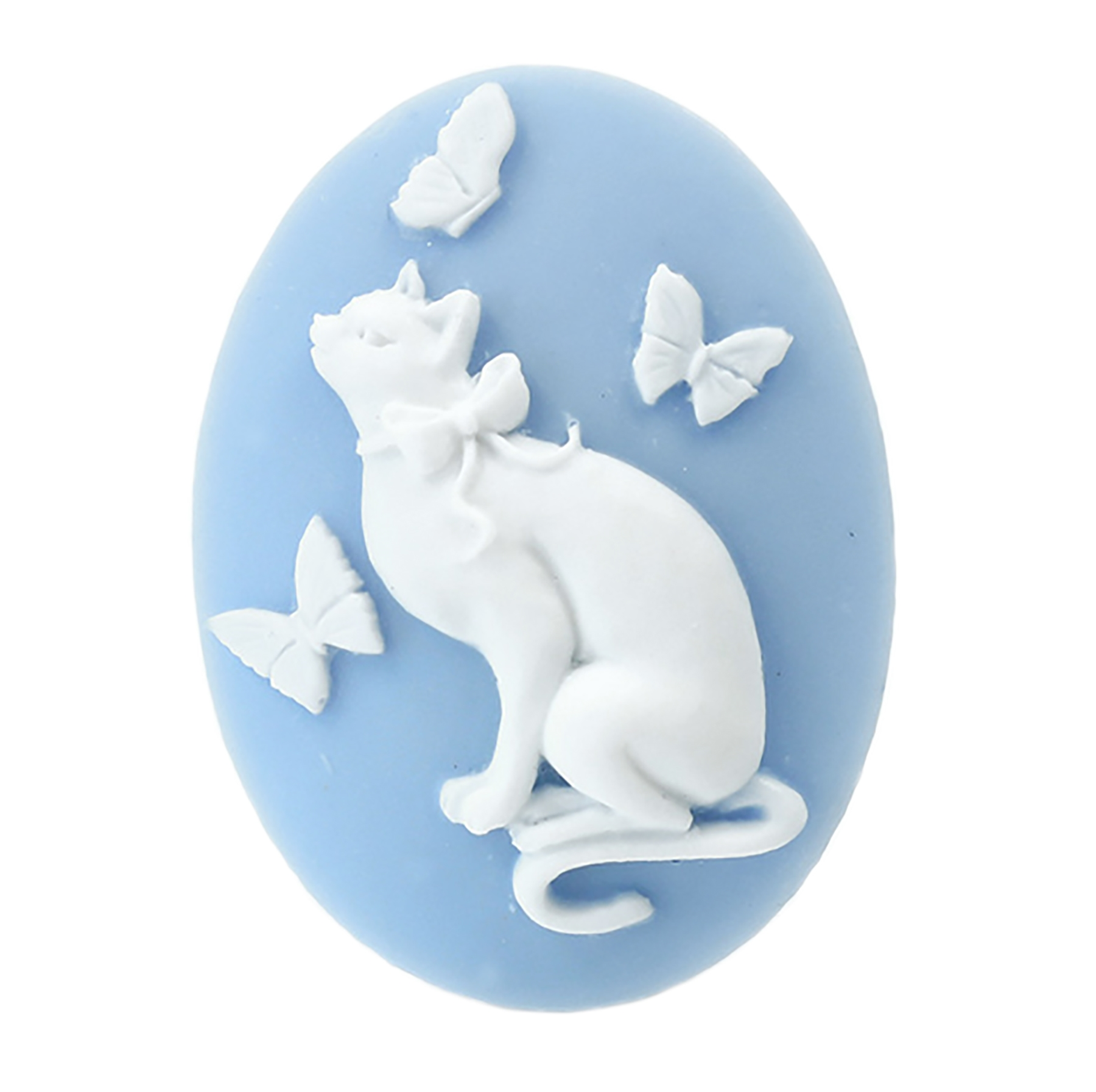 cat with butterfly cameo, blue cameo, white on blue, cat cameo, cat, kitty, butterfly, cat with butterfly, imported resin, cameo, cat jewelry, 40x30mm, animal, blue, jewelry making, jewelry supplies, jewelry findings, B'sue Boutiques, 08810