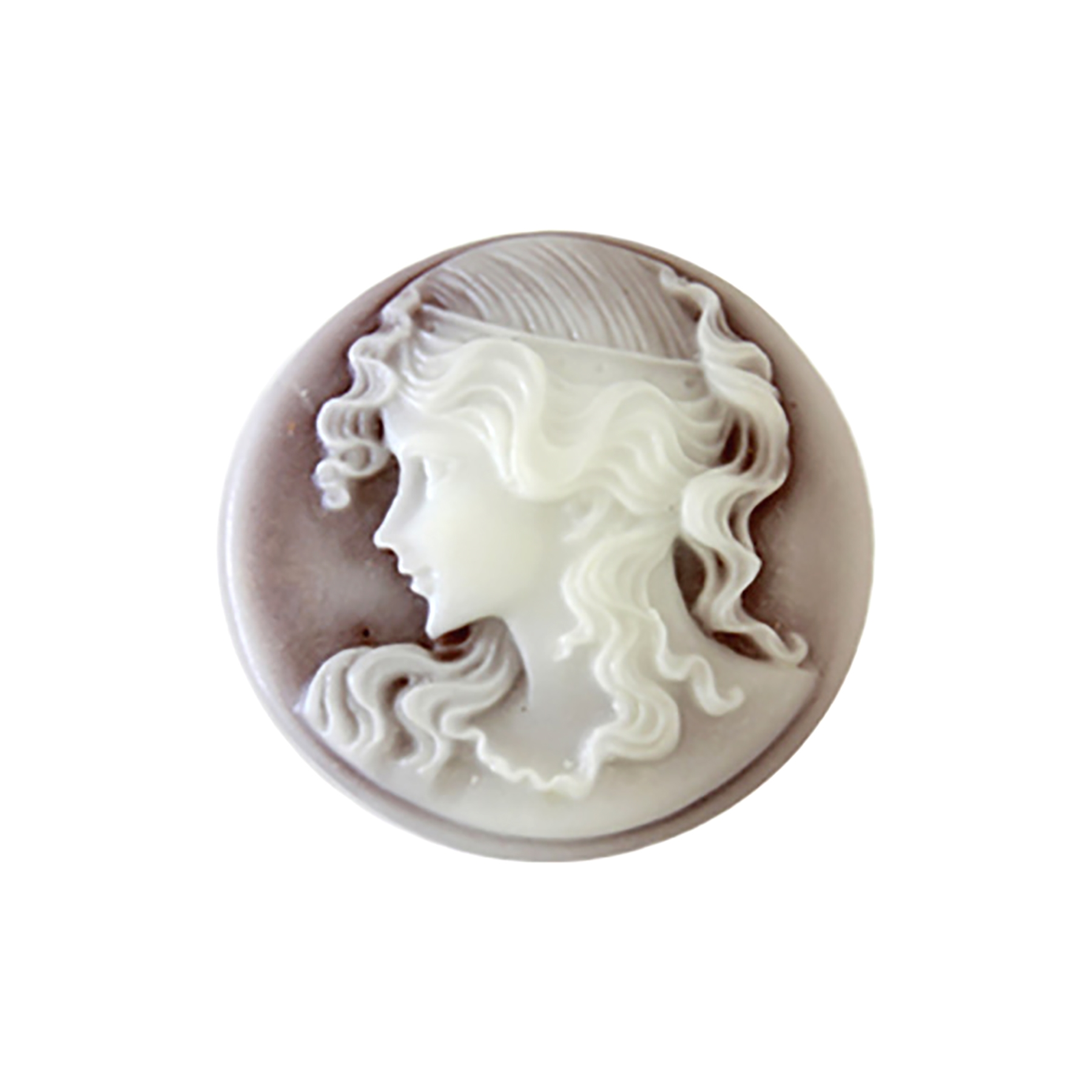 young Victorian lady cameo, cameo, resin jewelry, ivory, ivory on dark brown, 25mm, imported resin, Victorian, lady cameo, Victorian lady, round cameo, B'sue Boutiques, jewelry supplies, jewelry making, jewelry findings, vintage supplies, 08811