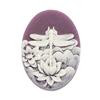 cameo, dragonfly, off white/purple, 40 x 30mm,074, B'sue Boutiques, cameo, dragonfly, jewelry making supplies, vintage jewelry supplies, dragonfly jewelry, jewelry findings, imported resin, resin cameos