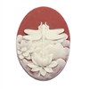 cameo, dragonfly, off white/ruby red, 40 x 30mm,074, B'sue Boutiques, cameo, dragonfly, jewelry making supplies, vintage jewelry supplies, dragonfly jewelry, jewelry findings, imported resin, resin cameos