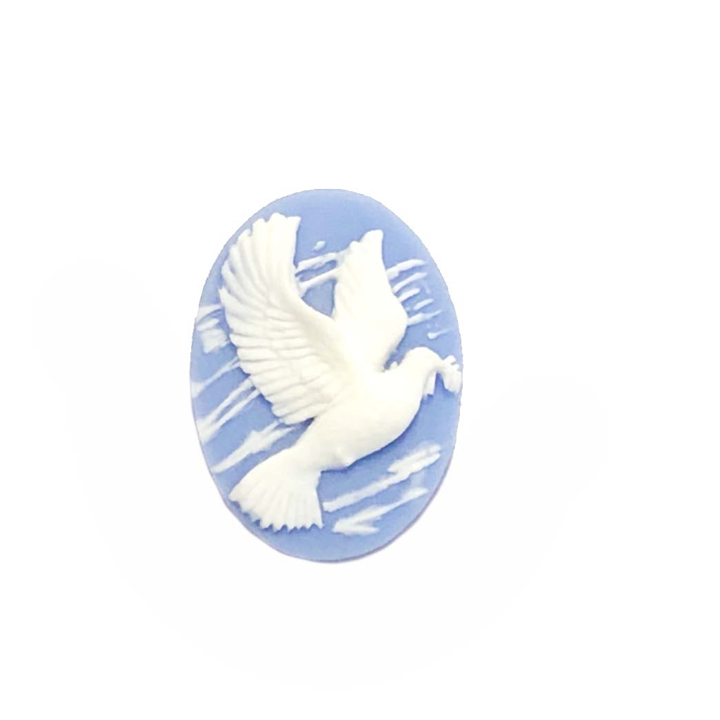 dove with olive leaf, white/blue, 25 x 18mm, 08872, B'sue Boutiques, cameo, dove cameo, jewelry making supplies, vintage jewelry supplies, bird jewelry, jewelry findings, imported resin, resin cameos