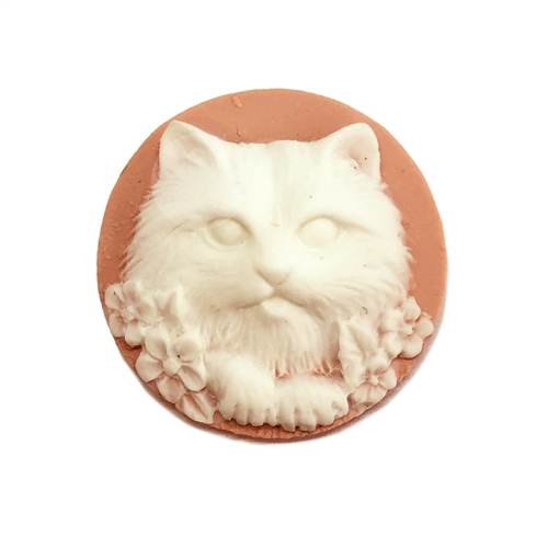 cat cameo, imported resin, white and pink, 25mm, kitty cameo, cat with floral, cameo, cameo jewelry, cat jewelry, jewelry making, vintage supplies, jewelry supplies, jewelry findings, B'sue Boutiques, 09243