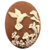 cameo, resin jewelry, jewelry making, 40 x 30mm, 09575, dark cornelian,  vintage jewelry supplies, jewelry findings, vintage jewelry, hummingbird cameos, floral cameos, bird cameos