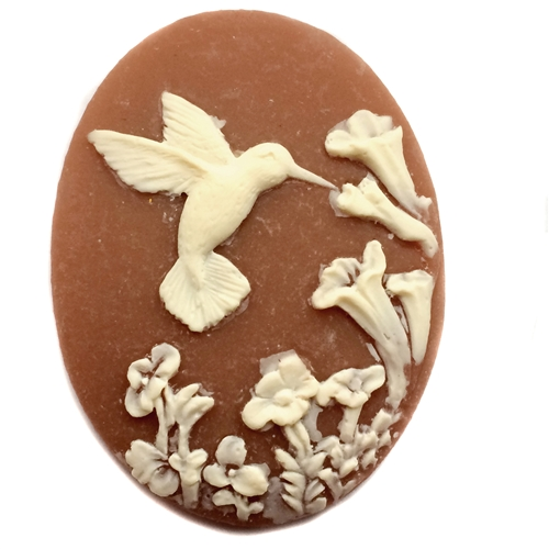 hummingbird cameo, ivory over dark cornelian, cameo, bird, flowers, floral, resin, oval, dark cornelian, ivory, hummingbird, 40x30mm, jewelry making, jewelry findings, cameo jewelry, vintage supplies, jewelry supplies, us made, B'sue Boutiques, 09575