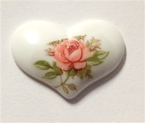 heart cameo, porcelain, pink, rose decal, 19x14mm, pink over white, rose, white, heart, cameo, cameo jewelry, pink cameo, heart jewelry, decal, made in Germany, B'sue Boutiques, jewelry findings, vintage supplies, jewelry supplies, porcelain cameo, 09577
