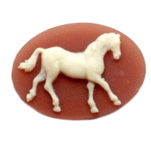 horse cameo, horse, cornelian, cameo, ivory, ivory over dark cornelian, 18x25mm, stallion, prancing, prancing horse, resin, quarter horse, B'sue Boutiques, us made, jewelry findings, jewelry making, vintage supplies, jewelry supplies, horse jewelry, 09579