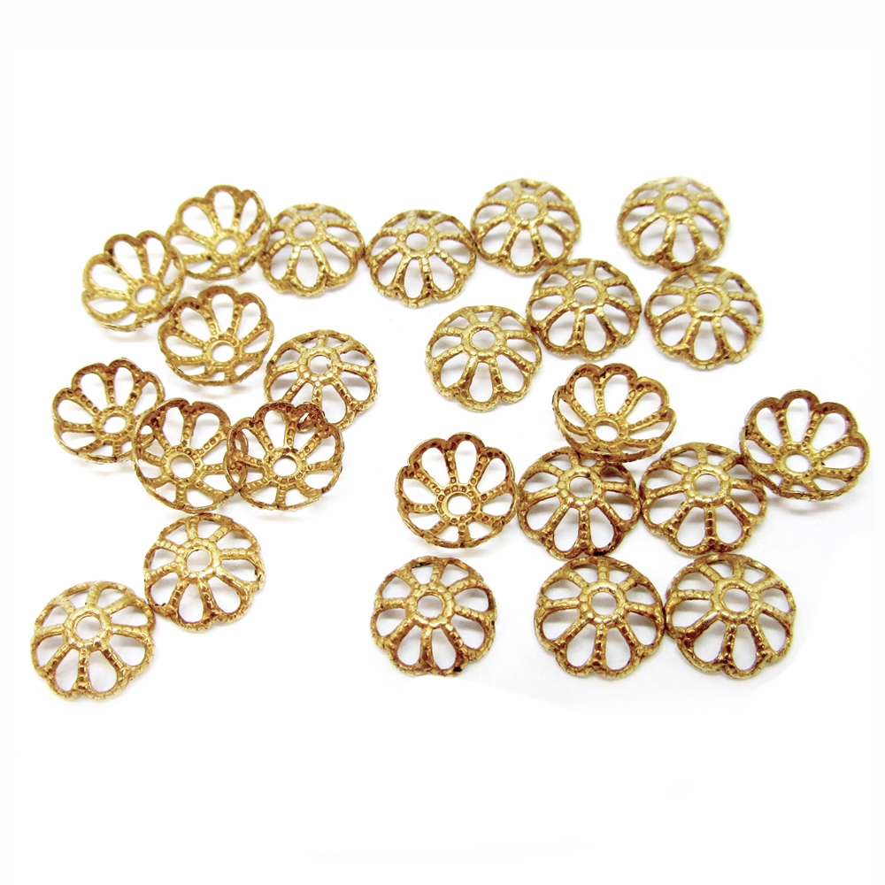 brass bead caps, filigree caps, jewelry supplies, 05029, classic gold, antique gold, jewelry making supplies, vintage jewelry supplies, brass jewelry parts, US made, nickel free, bsue boutiques, brass jewelry parts