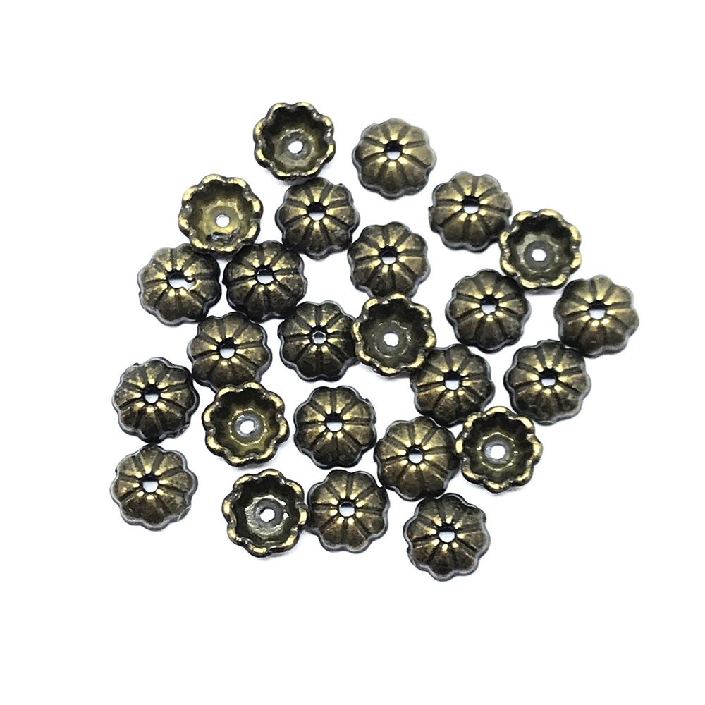 brass bead caps, bead caps, brass ox, 03366, antique brass, jewelry making supplies,  beading supplies, brass jewelry parts, US made jewelry supplies, nickel free jewelry supplies, B'sue Boutiques