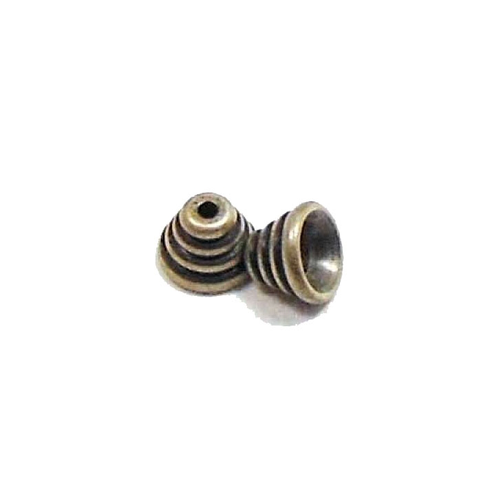 beehive style bead cap, bead cap, brass ox, bead, antique brass, beehive style, caps, US made, nickle free, metal beads, brass, swirl design, 6x8mm, beehive, jewelry making, B'sue Boutiques, jewelry findings, vintage supplies, jewelry supplies, 03721