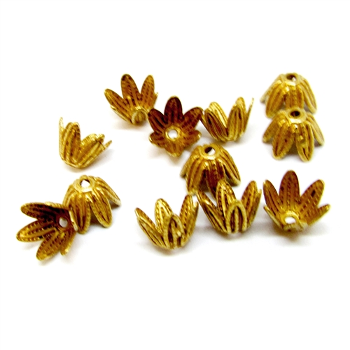 brass bead caps, fluted bead caps, 05028, classic gold, antique gold, brass flower caps, vintage jewelry supplies, fluted caps, 7x5mm bead caps, bsue boutiques, US made, nickel free