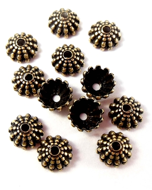 brass bead caps, jewelry making, brass ox