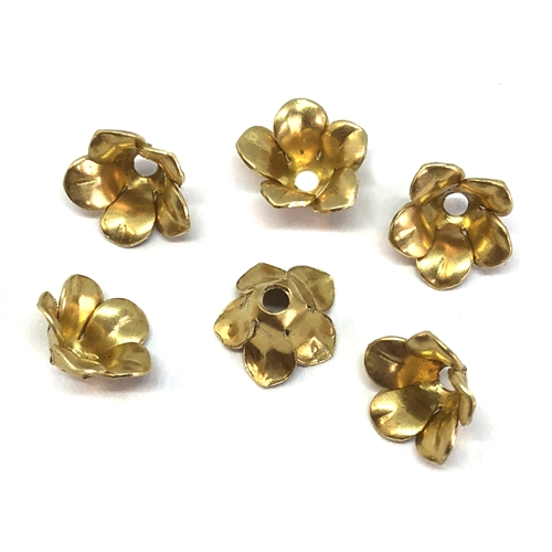 floral bead cap, 06472, flower, unplated brass, raw brass, brass bead cap, flower bead cap, bead caps, jewelry making, jewelry supplies, B'sue Boutiques