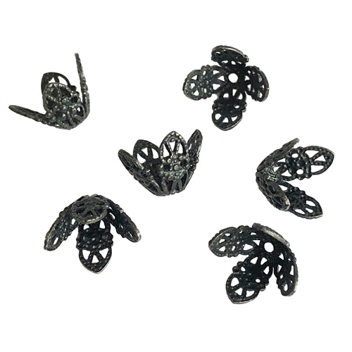 bead caps, matte black, 06611, brass bead caps, filigree bead caps, filigree, lacy bead caps, lace design, black bead cap, bead cap, Bsue Boutiques, jewelry making, jewelry supplies, plated brass