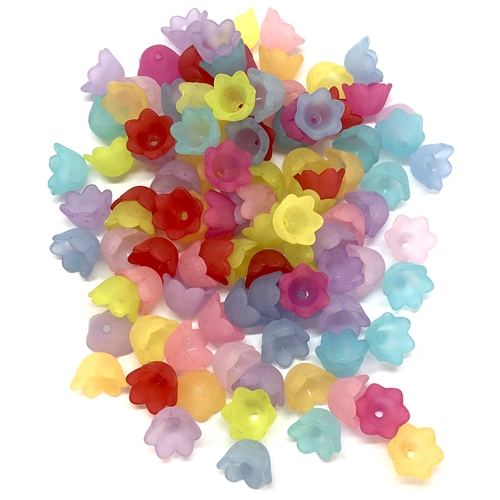 acrylic flowers, plastic, drilled flowers, 07480, B'sue Boutiques, US Made, vintage jewelry supplies, plastic flower beads, floral bead caps,  jewelry findings, acrylic jewelry, mixed media jewelry, flower bead caps, beading supplies, earring parts
