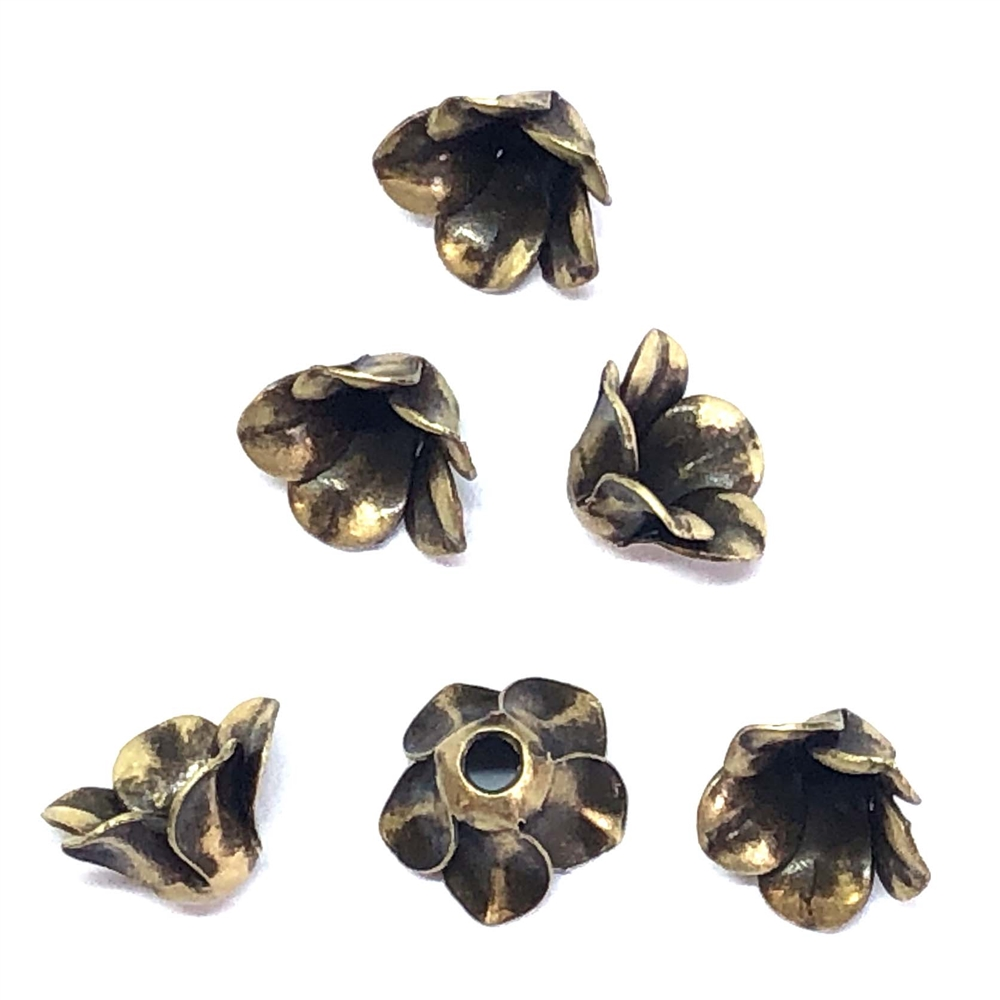 bead caps, brass flower caps, brass ox, 08084, flower caps, Us made, nickel free jewelry supplies, vintage jewelry supplies, black antiquing, antique brass, beading supplies,