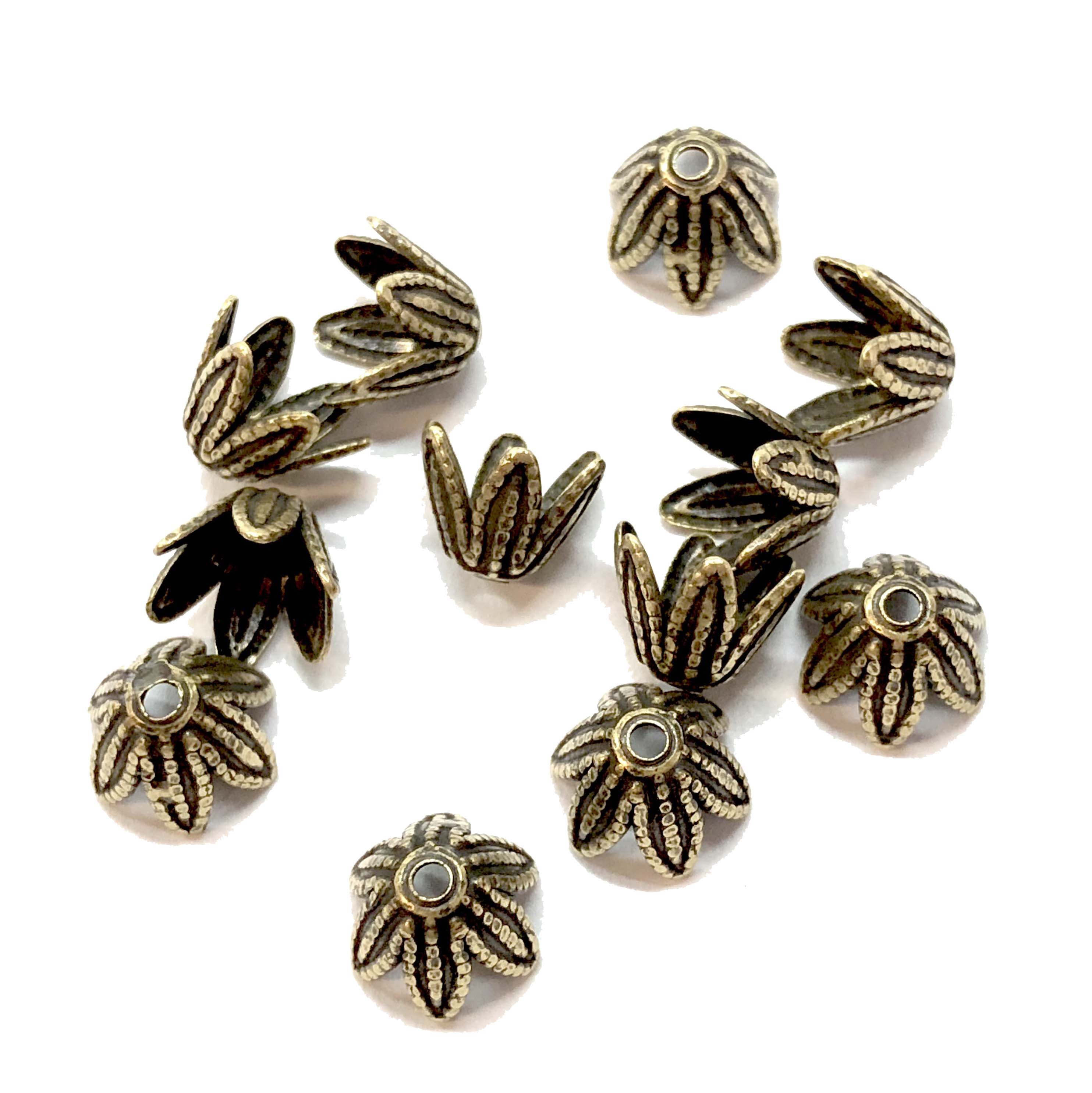 brass bead caps, flower caps, brass ox, 08336, brass caps, US made, nickel free jewelry supplies, beading supplies, vintage jewelry supplies, brass jewelry parts, antique brass, jewelry findings, brass findings