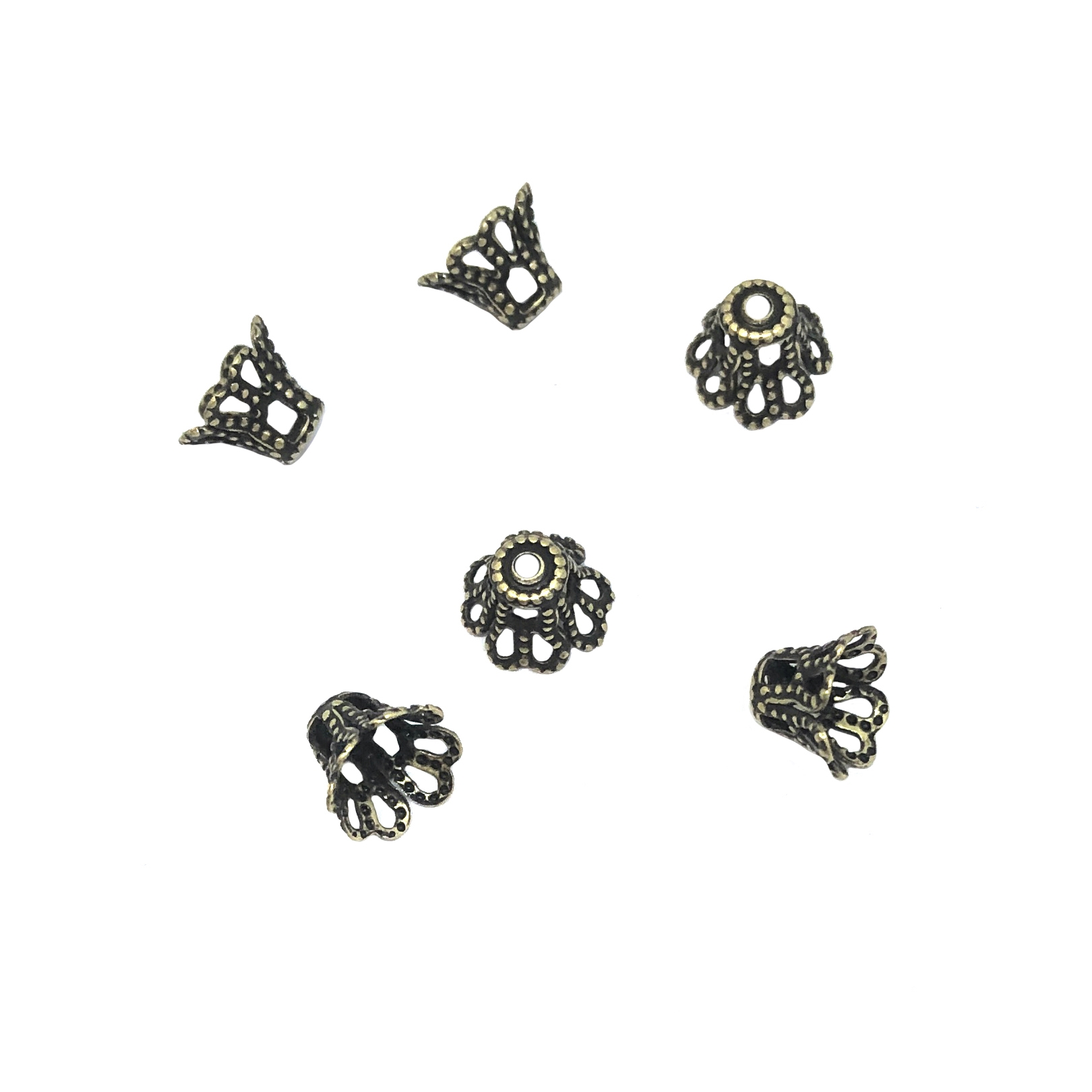 brass bead caps, small filigree caps, 08967, lacy filigree, victorian style, cap, caps, metal beads, brass ox, antique brass, set of 6, 5x7mm, Bsue Boutiques, findings, jewelry supplies