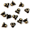 brass bead caps, fluted bead caps, 08982, brass ox, black antiquing, brass flower caps, vintage jewelry supplies, fluted caps, 9x4mm bead caps, beading supplies