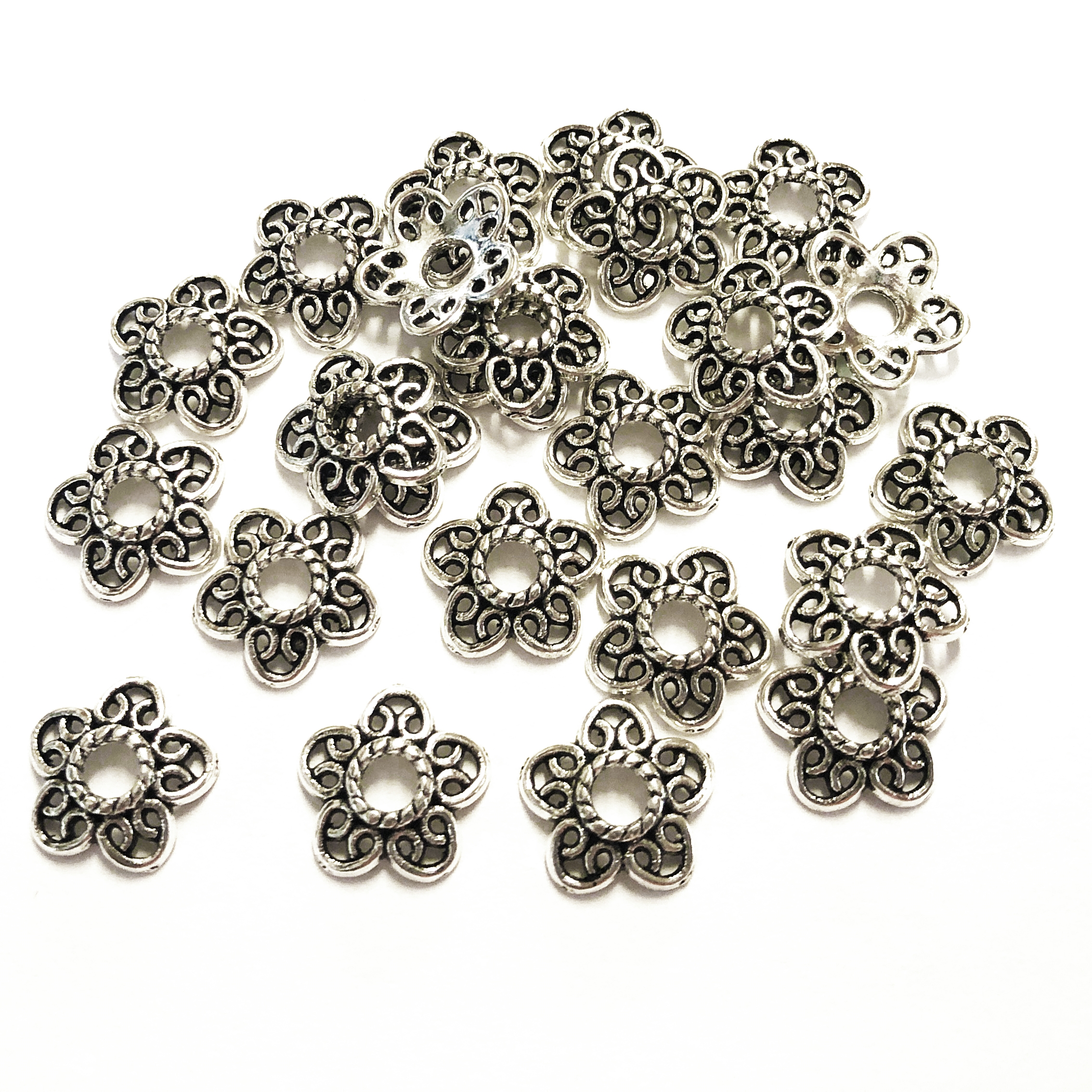 Floral bead cap, antique silver, bead cap, 12mm, 10 pieces, cap, bead, jewelry making, vintage supplies, jewelry supplies, caps, B'sue Boutiques, 09149, bead caps, flower
