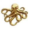 ooky the octopus, brass stamping, classic gold plated, classic gold, octopus, sea creature, 54x64mm, B'sue Boutiques, sea animals, beach jewelry, vintage supplies, jewelry making, antique gold, US made, stamping, jewelry supplies, pirate jewelry, 01321