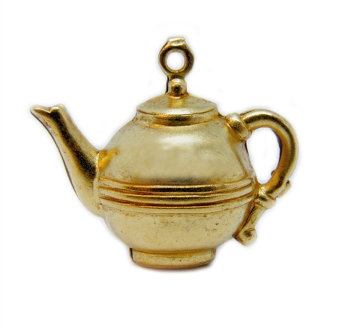 vintage teapot, classic gold plated, charm, brass, pendant, vintage style, 3d hollow, tea, hollow charm, tea pot, pot, classic gold, doll tea pot, us made, nickel free, B'sue Boutiques, vintage supplies, jewelry supplies, jewelry findings, 14x21mm, 04968