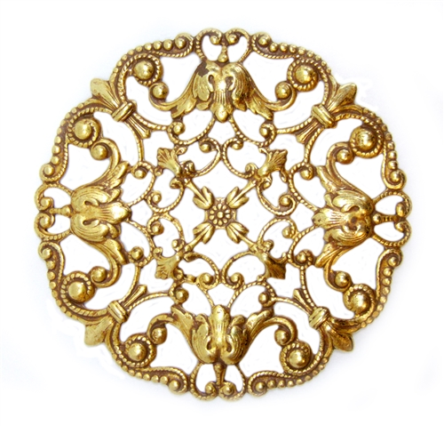 floral beadery filigree, beading filigree, classic gold plated, gold plated, classic gold, vintage supplies, brass jewelry parts, jewelry making, us made, nickel free, B'sue Boutiques, filigree, victorian style, floral filigree, brass, 49mm, 04972