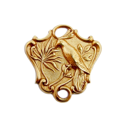 bird connector, bird of paradise, classic gold plated, B'sue Boutiques, bird jewelry, bird stampings, vintage supplies, brass jewelry parts, nickel free, jewelry supplies, us made, jewelry making, connectors, brass, gold plated, classic gold, 04974
