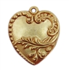 victorian floral charm, classic gold plated, hearts, brass stamping, charm, pendant, floral design, victorian, 28x24mm, heart charm, us made, gold, classic gold, brass, gold plated, floral, nickle free, B'sue Boutiques, vintage supplies, leafy heart,04978