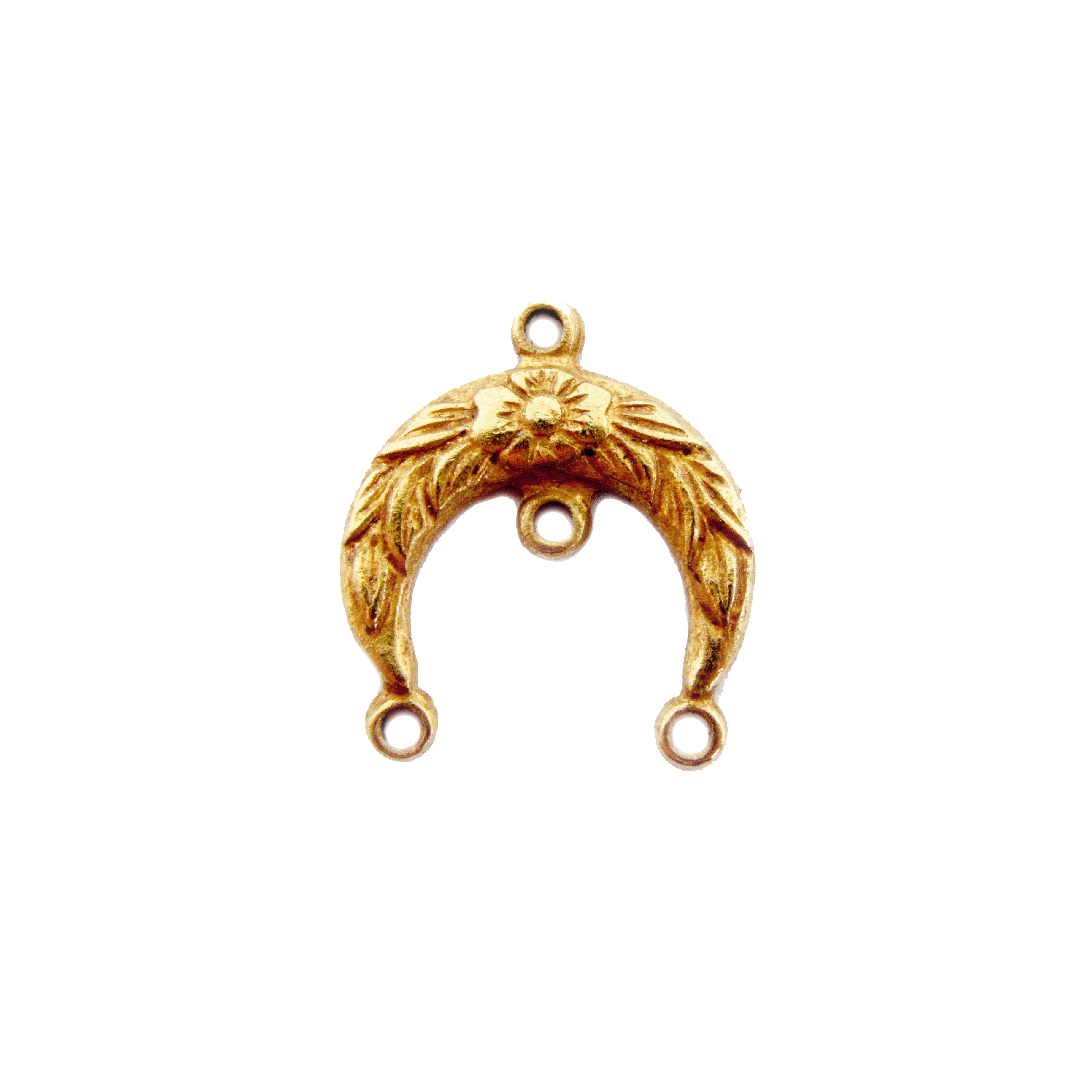 art nouveau swag, connector, pendant, classic gold plated, brass, brass stamping, swag, 16x15mm, gold, crescent, gold plated, pendant connector, centerpiece, us made, nickel free, B'sue Boutiques, vintage supplies, jewelry supplies, jewelry making, 04984