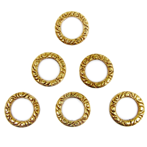 victorian circlets, classic gold plated, gold plated circlets, circlets, steampunk, steampunk, circlet, pattern circlets, classic gold, gold, connectors, gold plated stampings, US made, nickel free, jewelry making, vintage supplies, 10mm, 04987