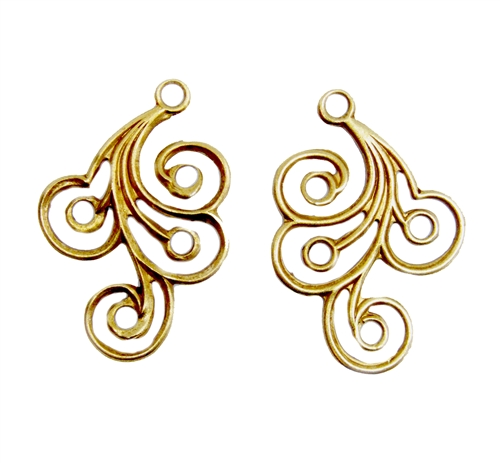 spiral design drops,classic gold plated, gold plated, filigree, brass ear drops, gold, drops, spiral design, brass filigree, earring finding, brass stamping, 30x21mm, 2 pieces, us made, nickel free, jewelry making, jewelry finding, vintage supplies, 04999