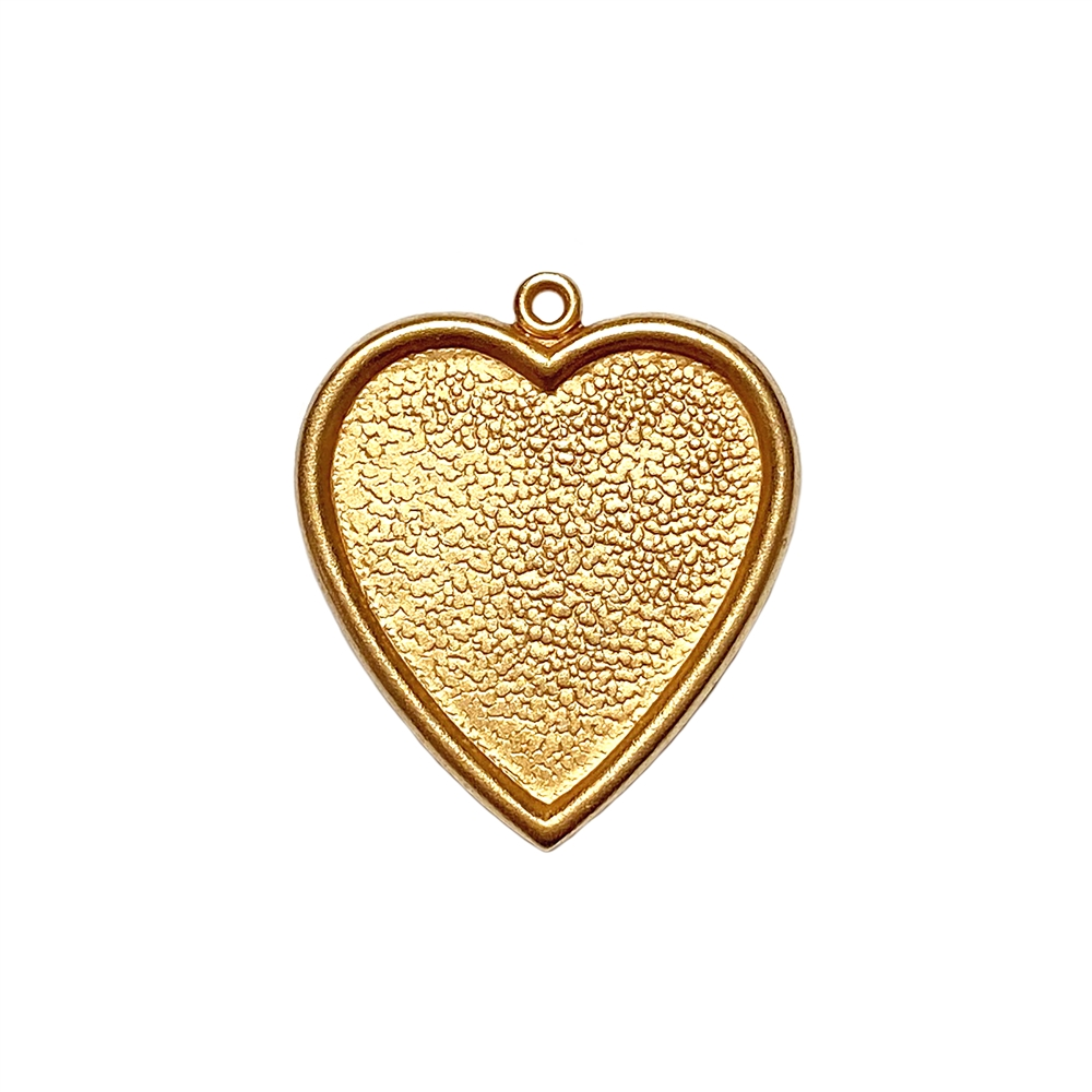 inlay heart charm, classic gold plated, gold, gold plated, heart charm, heart, heart pendant, heart mount, pendant, classic gold, brass, charm, inlay, resin mount, mount, 25x24mm, 22 karat gold, jewelry making, vintage supplies, B'sue Boutiques, 05004