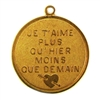 french charm, classic gold plated, classic gold, gold, gold plated, je t'aime plus qu' hier moins que demain, brass, pendant, charm, french, us made, nickel free, B'sue Boutiques, jewelry making, vintage supplies, jewelry supplies, 50's charm, 26mm, 05007
