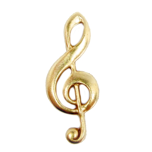 Treble Clef, Music Charm, Brass Charm, classic gold, antique gold, US Made, Nickel Free, 17 x 9mm, Brass Stamping, Music Note, Pendent, Charm, Design Element, Embellishments, Jewelry Findings, B'sue Boutiques, Made in USA, 05008